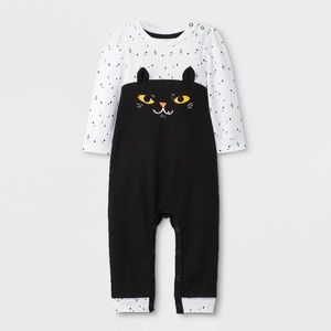 Baby Girls' Cat/kitten Long Sleeve Romper
